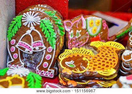 Festively decorated handmade gingerbreads at the Riga Christmas market in Latvia. Gingerbreads are one of the main sweets which people tend to gift during the Christmas period.