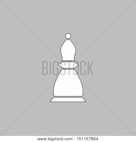 Chess bishop Simple line vector button. Thin line illustration icon. White outline symbol on grey background