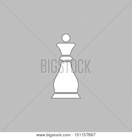 Chess queen Simple line vector button. Thin line illustration icon. White outline symbol on grey background