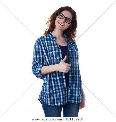 Smiling young woman in casual clothes and glasses over white isolated background showing thumb up sign, happy people concept