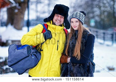 Young Girl And Fellow In Winter In Trakai In Lithuania
