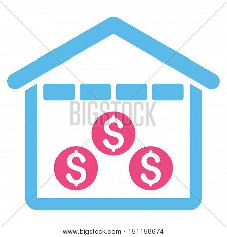 Money Depository icon. Glyph style is bicolor flat iconic symbol with rounded angles, pink and blue colors, white background.