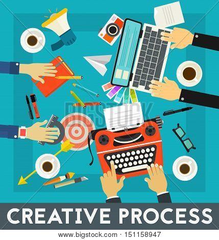 Vector Creative Process concept banner. Flat style vector illustration online web banner