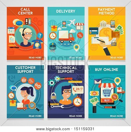 Customer and Technical Support, Call Senter, Payment Methods, Online Shopping and Delivery concept banners. Flat style vector illustration online web banners