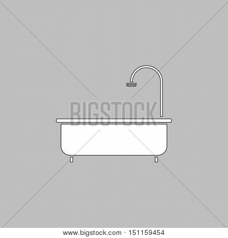 Bathtub Simple line vector button. Thin line illustration icon. White outline symbol on grey background