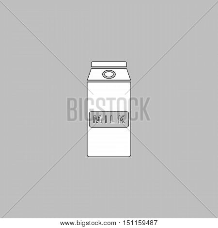 Milk box Simple line vector button. Thin line illustration icon. White outline symbol on grey background