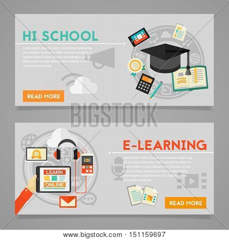 Classical education and library, high school education, back to school, e-learning concepts. Horizontal banners