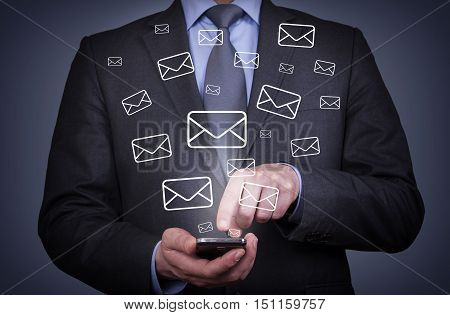 Business Person Touching Email Sending With Smartphone