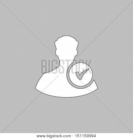 User Simple line vector button. Thin line illustration icon. White outline symbol on grey background