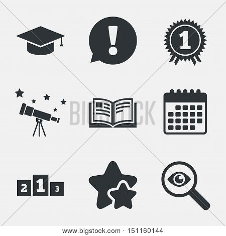 Graduation icons. Graduation student cap sign. Education book symbol. First place award. Winners podium. Attention, investigate and stars icons. Telescope and calendar signs. Vector