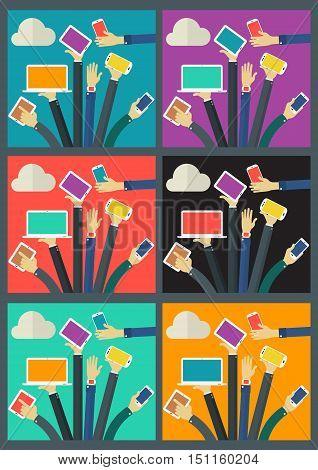Vector WiFi Gadget Social Network concept banner. Flat style vector illustration online web banner