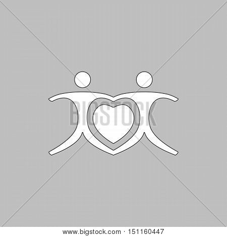 Love Heart Icon Vector. Flat simple color pictogram