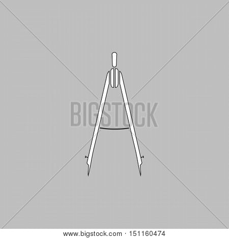 Compass Simple line vector button. Thin line illustration icon. White outline symbol on grey background