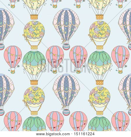 Hand-drawn seamless air balloon pattern. Vector illustration can be used for wallpaper, website background, wrapping paper. Sketch elements of cartoon air balloons