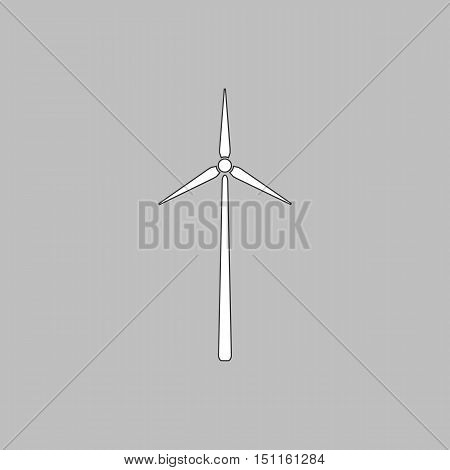 Windmill Simple line vector button. Thin line illustration icon. White outline symbol on grey background