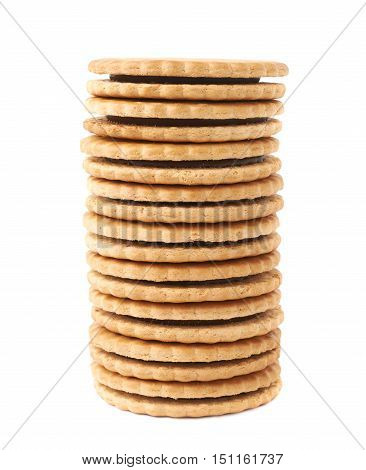 Stack of round cookies with chocolate isolated over the white background