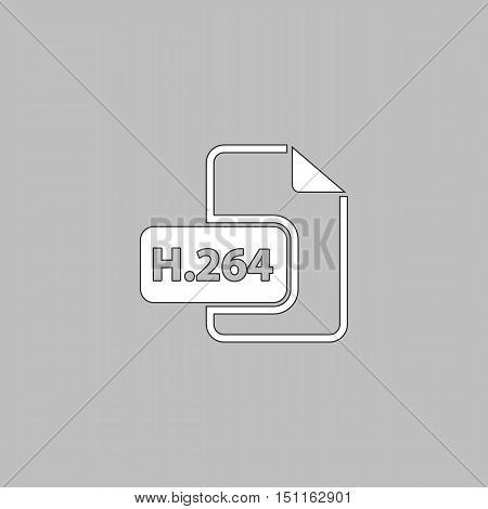 H.264 Simple line vector button. Thin line illustration icon. White outline symbol on grey background