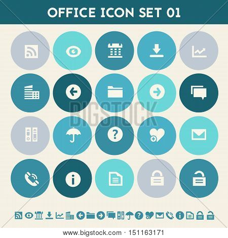 Modern flat design multicolored office 1 icons collection