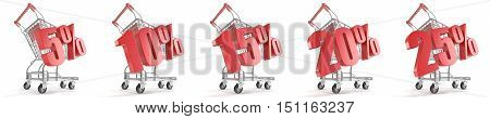 5% 10% 15% 20% 25% percent discount in front of shopping cart. Sale concept. 3D render illustration isolated on white background