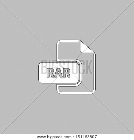 RAR Simple line vector button. Thin line illustration icon. White outline symbol on grey background