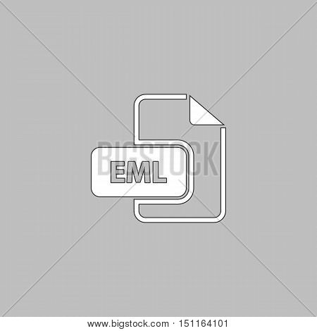 EML Simple line vector button. Thin line illustration icon. White outline symbol on grey background