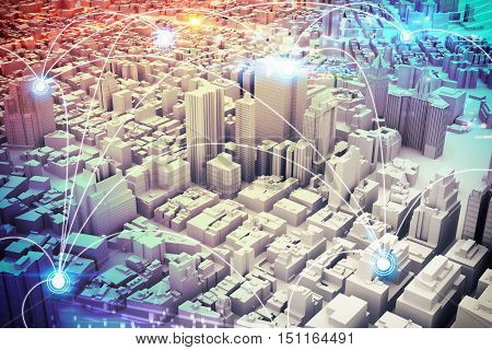Background of a cityscape with futuristic designs. 3D Rendering