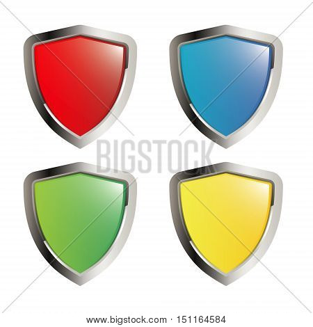 shield set icon collection isolated on white background