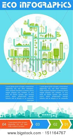 Flat style design futuristic eco city infographic with options banners