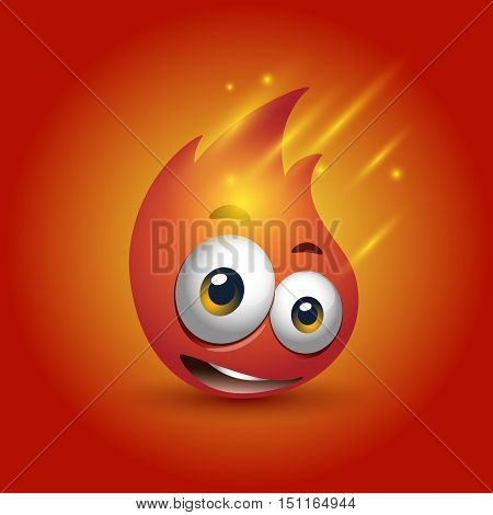red fire flame cartoon character with big eyes