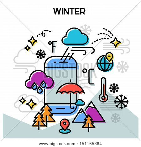 Weather and seasonal conceptual banners for mobile apps. Winter. Line bold design vector illustration online web banner