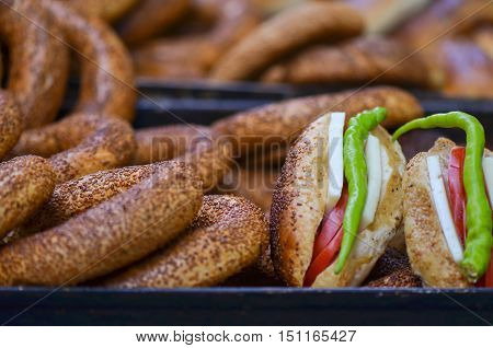 Sandwich (Turkish name is Kumru) and Turkish Traditional Bakery Bagel, Turkish donut, called as Simit in Turkish