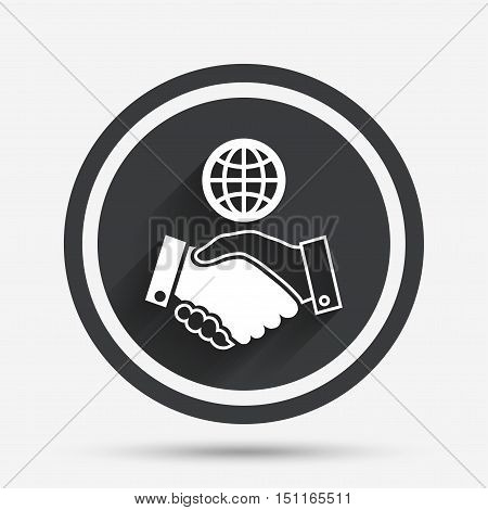 World handshake sign icon. Amicable agreement. Successful business with globe symbol. Circle flat button with shadow and border. Vector