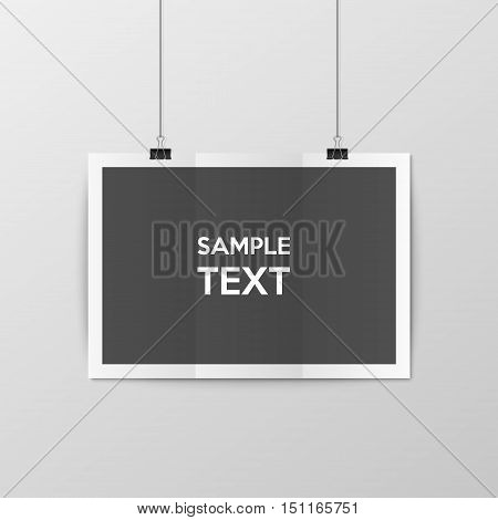 Sheet of folded paper hangs on the clamps. Vector EPS10 illustration. poster