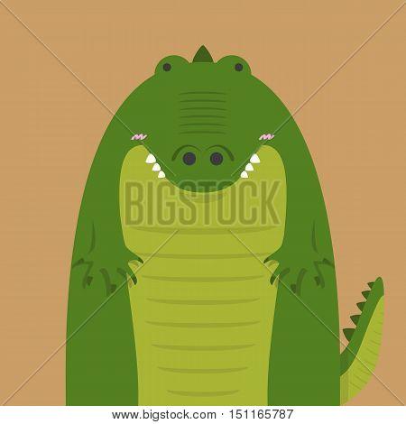 cute big fat crocodile on light brown background