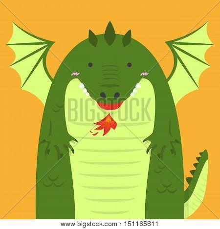 cute big fat green dragon on light orange background