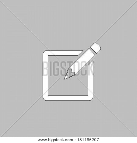 Subscribe Simple line vector button. Thin line illustration icon. White outline symbol on grey background