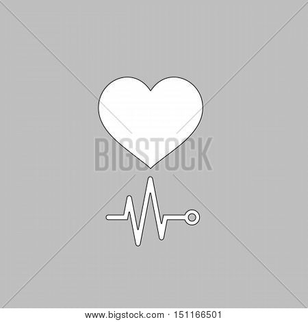 cardiogram Simple line vector button. Thin line illustration icon. White outline symbol on grey background