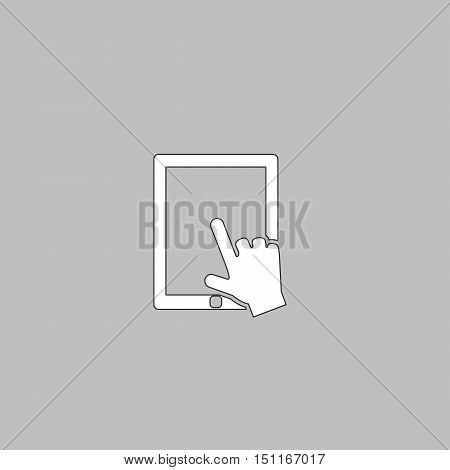 Touch screen Simple line vector button. Thin line illustration icon. White outline symbol on grey background
