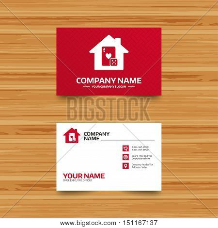 Business card template. Casino sign icon. Playing card with dice symbol. Phone, globe and pointer icons. Visiting card design. Vector