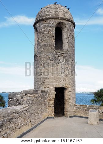 belltower at Castillo de San Marcos in St. Augustine Florida. The fort is the oldest masonry fort in the United States. It is located near Matanzas Bay. THe fort is constructed of coquina.