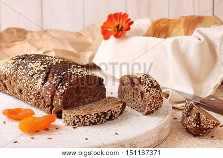 Loaf Of Rye Unleavened  Bread Without Yeast Sprinkled Sesame