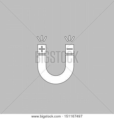 Magnet Simple line vector button. Thin line illustration icon. White outline symbol on grey background