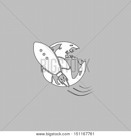 Space ship Simple line vector button. Thin line illustration icon. White outline symbol on grey background