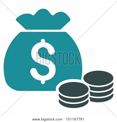 Money Bag icon. Glyph style is bicolor flat iconic symbol with rounded angles soft blue colors white background.