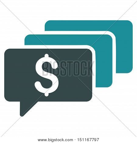 Money Messages icon. Glyph style is bicolor flat iconic symbol with rounded angles soft blue colors white background.