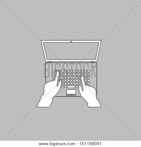 use laptop Simple line vector button. Thin line illustration icon. White outline symbol on grey background