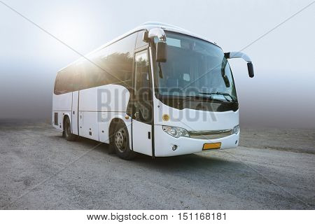 RUSSIA, YEKATERINBURG -August 3, 2016: Tourist Bus on Parking. Modern White Passenger Bus on the Neutral Background, Traveling by Bus