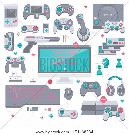 Game environment flat design vector illustration concept. Gaming tools and devices. Collection of virtual computer game consoles.