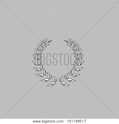 winner wreath Simple line vector button. Thin line illustration icon. White outline symbol on grey background