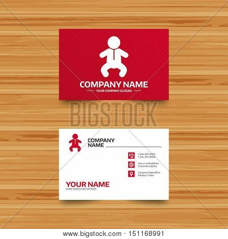 Business card template. Baby infant sign icon. Toddler boy in pajamas or crawlers body symbol. Child WC toilet. Phone, globe and pointer icons. Visiting card design. Vector